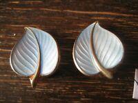 florale Vintage Designer Ohrringe Clips blau Emaille David Andersen 925er Silber