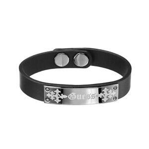 Guess Armband UMB81009 Herren Schwarz Lederarmband Silber Black Man NEU & OVP