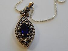 Sterling Silver and Sapphire Blue Pendant India Style