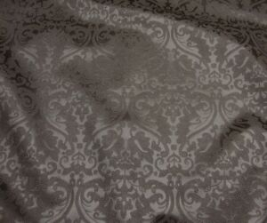 Upholstery Vinyl faux leather Pewter Parisian Embossed Damask Vinyl fabric yard