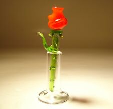 "Blown Glass Figurine ""Murano"" Flower RED Rose with a Vase"