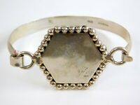 Vintage Mexico 925 Sterling Silver Bracelet Hexagon Hook Closure Beaded Edge