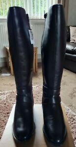JD.Williams Leather Trim Detail Riding Boots E Fit Curvy Calf Size 7 in Brown BN