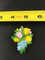 Vintage Spring Flowers Tulip Easter Pink Yellow brooch pin pinback button *QQ3