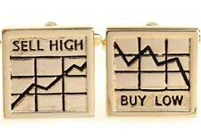 Buy Low Sell High Cufflinks Gold Wall Street Fancy Gift Box Free Ship USA