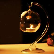 Hanging Glass Ball Hydroponic Flower Vase Candlestick Candle Holder w/ Stand