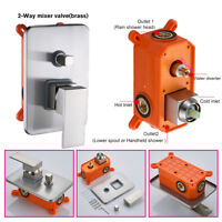 Shower Valve Embedded Box Wall Mount 2-ways Mixing Diverter Brushed Nickel Brass
