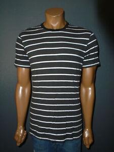 LULULEMON Athletic T-Shirt 5 Year Basic Tee Black & White Jail Striped Mens MD