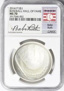 2014-P Baseball HOF Commemorative Silver Dollar - NGC MS-70 - Babe Ruth