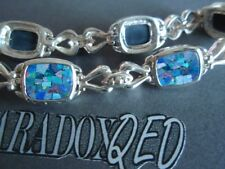 QVC Retired Whitney Kelly Sterling Silver 925 Mosaic Opal Inlay Tennis Bracelet