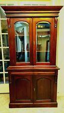 Beautiful Dark Cherry China Hutch Cabinet w/Beveled Glass Doors & Wooden Shelves