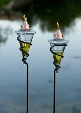 GAR492 H Potter Garden Patio Torch Outdoor Lighting Glass Metal Accent Yard Art