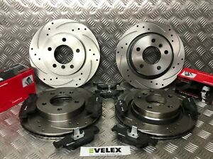 BMW 3 SERIES FRONT & REAR BRAKE DISCS DRILLED & GROOVED WITH BREMBO PADS