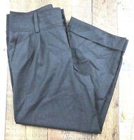"Banana Republic Gray Plaid Wool Pleated/Cuffed Cropped  SZ 6 30x23"""