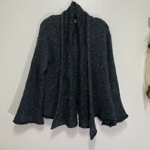 Wooden Ships Womens Knit Cardigan Mohair Blend Gray Open Front Size S/M