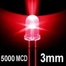 100 LED DIODI 3mm ROSSO LUMINOSITA 4000 / 5000 MCD ROSSI 5K