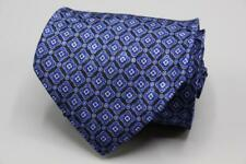 "STEFANO RICCI Long Silk Tie. Black w Blue Floral Geometric. 63"" x 4"""