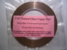 Stained Glass Supplies 3/16'' (Silver Back) Copper foil