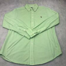 Polo Ralph Lauren Men's Knit Oxford Green Long Sleeve Button Up Shirt Size L EUC