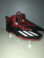 Adidas Men Dual Threat Mid Metal Baseball Cleats Sz 13 F37755 Red and Black New!