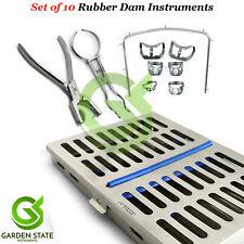 Dental Rubber Dam Kit Universal Brinker Clamps Frame Punch Forceps Mesh Cassette
