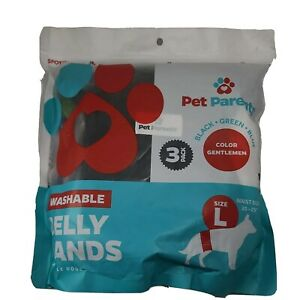 Pet Parents Washable Belly Bands Size Large Natural (3 Pack) For Male Dogs New