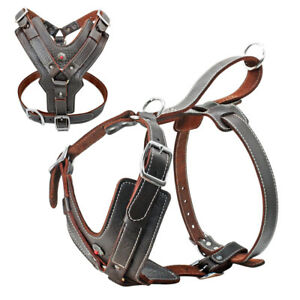 Real Leather No Pull Dog Harness Large Breed Heavy Duty Pitbull Mastiff XL-3XL