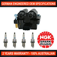 4x Genuine NGK Platinum Spark Plugs & 1x Ignition Coils for Subaru Liberty BL/BP