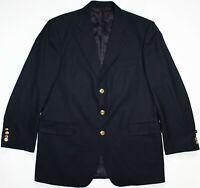 Aquascutum Golden Button Blazer - 42 R Large - Navy Blue Wool Mens Gents Jacket