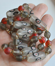 Vintage Japenese Tonbo Dama Lampwork Millefiori NECKLACE red ice frosted glass