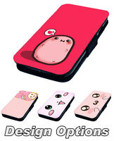 Kawaii Inspired Face Designs Printed Faux Leather Flip Phone Cover Case
