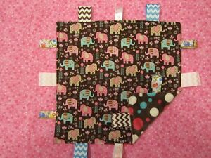 Pink/Brown Girly Elephant Cotton/Minky Baby Tag Ribbon Security Blanket