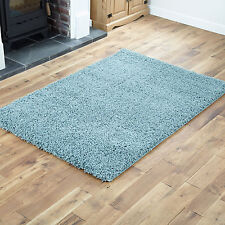 Large Thick 5cm High Pile Duck Egg Blue Non Shedding Shaggy Rug 160x230cm