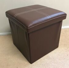 Faux Leather Ottoman Storage Box Black Red Blue Purple Brown Soft Seat Footstool