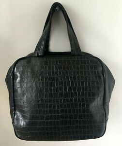 COMME des GARCONS Black Croc Embossed Synthetic Leather Boston Bowler Tote Bag