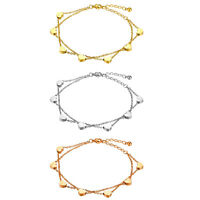 Women Charm Stainless Steel Love Heart Double Layer Bracelet Chain For Hers Gift