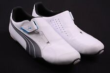 Puma White & Gray Leather No Lace Hook & Loop Perforated Sneakers Shoes 11