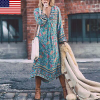 Plus Size US Women Boho Long Sleeve Dress V Neck Casual Loose Long Maxi Dresses