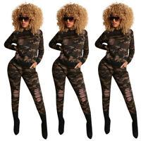 New Women/'s Fashion Camouflage Burn Out Long Sleeves Skinny Long Pants Set 2pcs