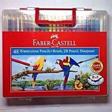 NEW Faber-Castell 48 Watercolor Pencils+Brush, 2B Pencil,Sharpener in Wonder Box
