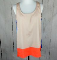LUSH Sleeveless Colorblock Top Medium M Beige Orange Blue Satin Tank Womens