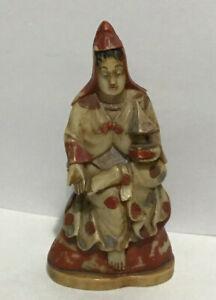 Vintage  Buddhist Carved Resin or TUSK LIKE  Statue  Seated Figurine