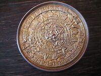 prächtige große Brosche Mayakalender Maya Azteken Kalender 925er Silber gold pl