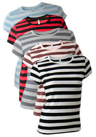 Womens Ladies new cotton large stripe T-shirt womens shortsleeve top.Size:S.M.L.