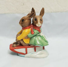 Vtg Royal Doulton Bunnykins Figurines Billie Buntie Sleight Ride Signed A Wright
