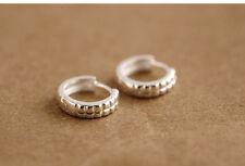 Solid 925 Sterling Silver Hoop Huggie Earrings 13mm Gift Pouch