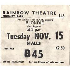 BLONDIE & XTC Concert Ticket Stub LONDON 11/15/77 RAINBOW THEATRE DEBBIE HARRY
