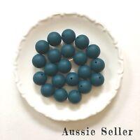 10 silicone beads DEEP TEAL 19mm round BPA free teething sensory jewellery 20mm