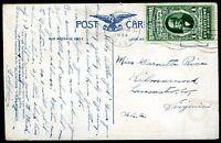 PANAMA TO USA Circulated Postcard 1934, VF