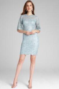 Teri Jon Silver Metallic Embellished Lace Illusion Cocktail Dress Sz 6 NWT $660